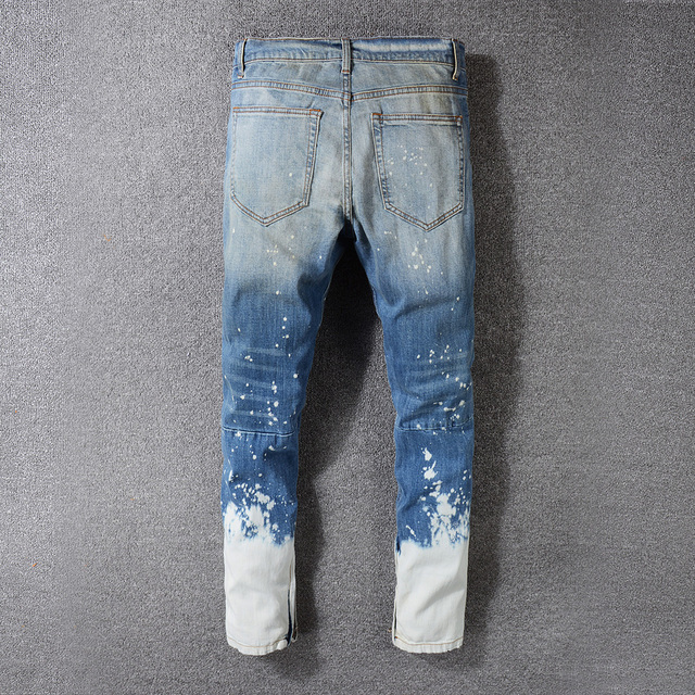 Sokotoo Men's contrast color blue white washed denim jeans Plus size bottom zipper slim straight pants