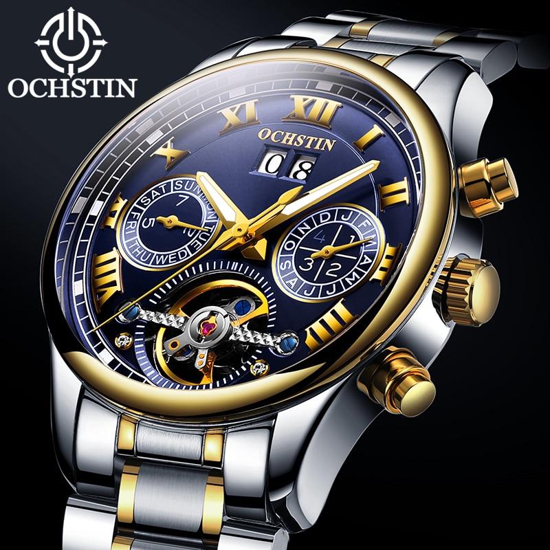 OCHSTIN Mechanical Watch Men Automatic Watch Tourbillon Skeleton Wristwatch Business Luxury Band Watches Male Waterproof Clock