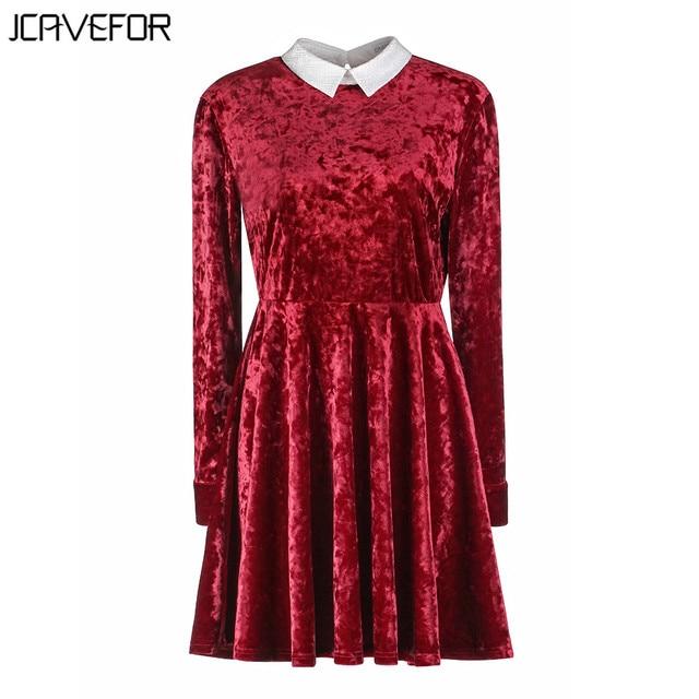 7721e709aa6 2018 Spring Women Red Velvet Skater Dress Elegant Long Sleeve Turn Down  Collar Hollow Back A Line Dress