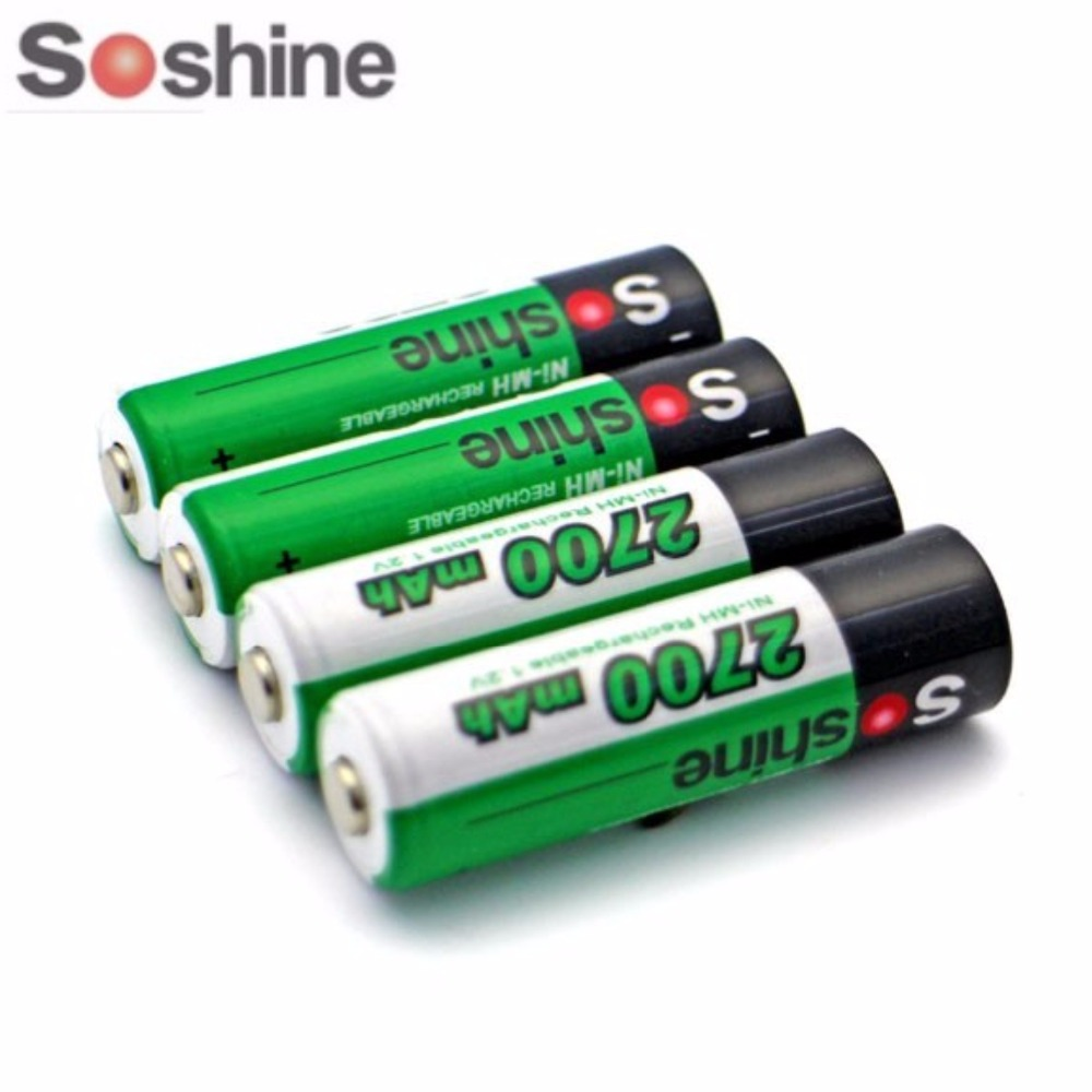 4pcs/Pack Soshine Ni-MH AA 1.2V 2700mAh Rechargeable Batteries +Portable Battery Box