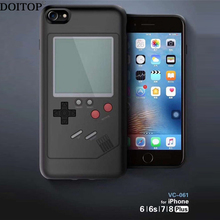 DOITOP Game Console Cover Case sFor Iphone 7 8 6 6S Plus Multi Phone Case Can Play Tetris Game TPU Back Cover Gift For Child Kid