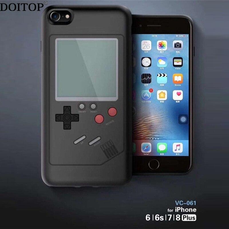 DOITOP Tetris Console di Gioco Caso Della Copertura sFor Iphone X 7 8 6 6 S più Multi Tetris Gioco Cassa Del Telefono TPU Della Copertura Posteriore Per Il Iphone X Coque