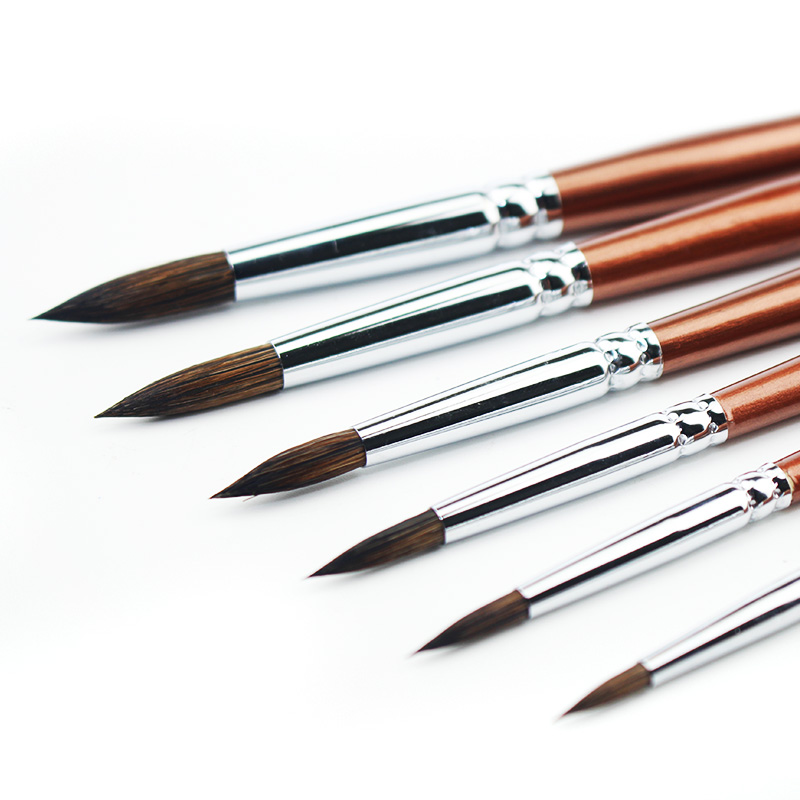 6pcs Wolf Hair Paint Brush Set Round Tip Pointed Artists Paintbrush for Watercolor Acrylic Oil Painting Art Supplies conda 6pc artists paint brush set wood handle short miniature detail soft acrylic watercolor brush oil drawing round pointed tip