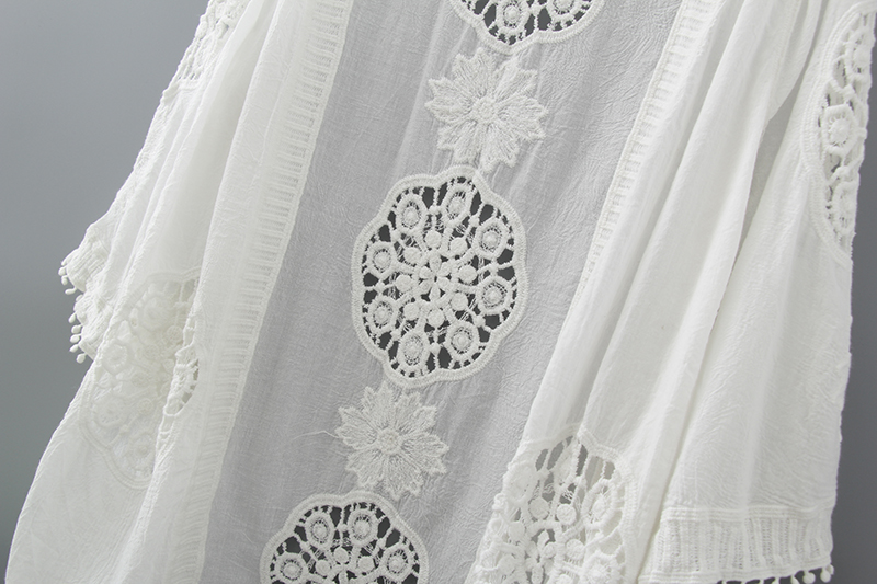 Crochet Long Kimono Cardigan Embroidery Blouse Summer 2019 Fashion Casual Women Tops Hollow Out Loose White Blouse With Tassel in Blouses amp Shirts from Women 39 s Clothing