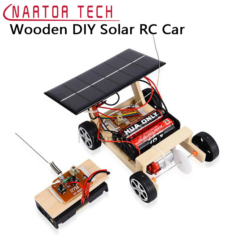 Assembled Solar Wooden Car Remote Control Car DIY Science Educational Toys Puzzle Toy Car Children's Toy Gift Creative Model