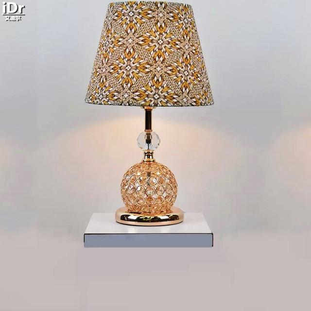 Stylish modern crystal lamp gold pattern fabric lamp bedroom den stylish modern crystal lamp gold pattern fabric lamp bedroom den aisle hall table lamps olu aloadofball Gallery