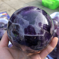 large size top quality high polished Dogtooth amethyst Chevron Amethyst Banded dream amethyst sphere ball healing around 9cm