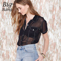 Patchwork Color Block Women Shirts 2016 Spring and Summer Sexy Transparent Blouses Black Tops of Women Short Sleeve M15123112