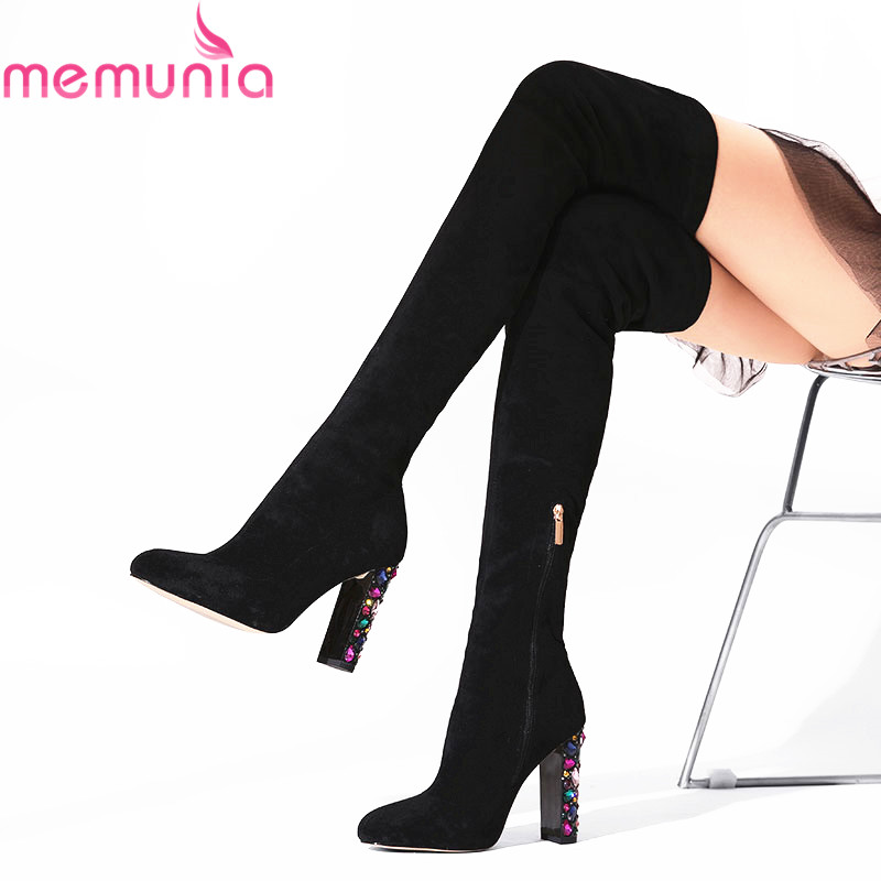 MEMUNIA Size 33 44 HOT 2019 New high quality Faux Suede over the knee boots rhinestone