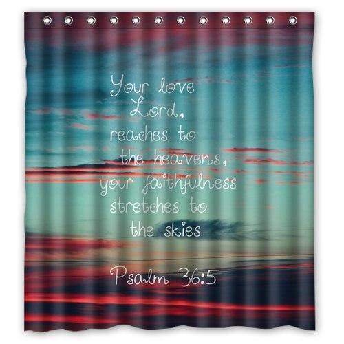 CHARMHOME Custom Unique Design Christian Jesus Bible Verse Waterproof Fabric Shower Curtain 72