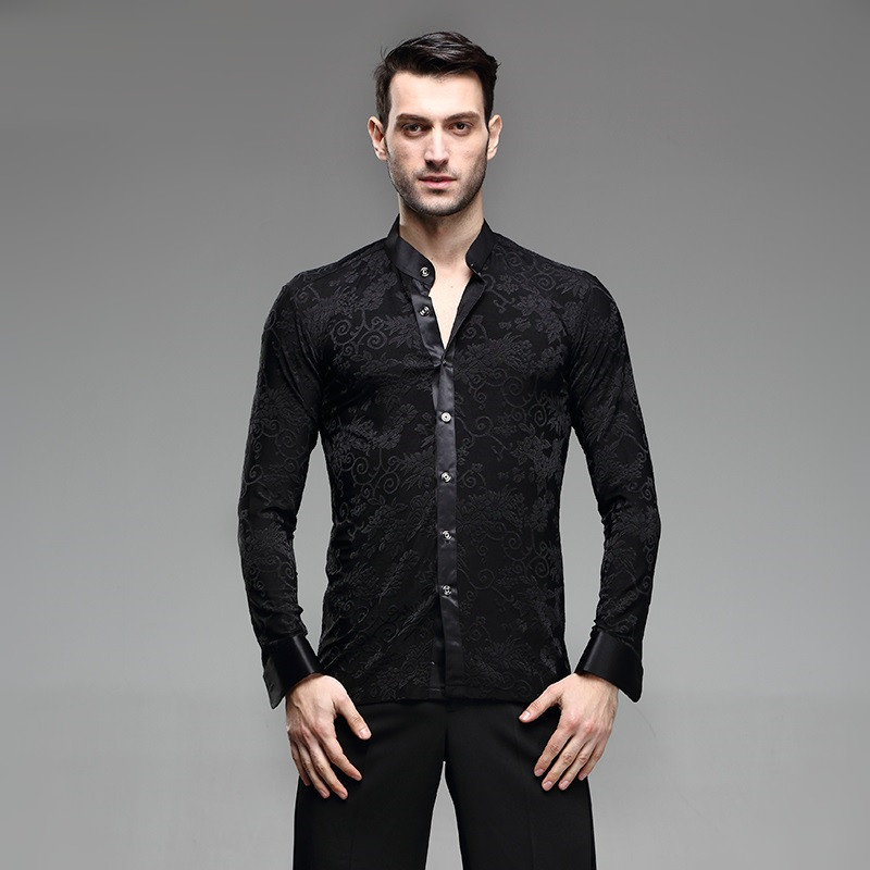 Picture of Mens Latin Shirts Dance Top Mens Ballroom Dancewear Mens Latin Dance Costumes Stage Clothing For Men Ballroom Clothes