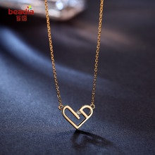 Hot Sale 1pc/bag 925 Sterling Silver light Gold Color Heart Shape Pendant Necklace With Rhinestones for Jewelry Gifts