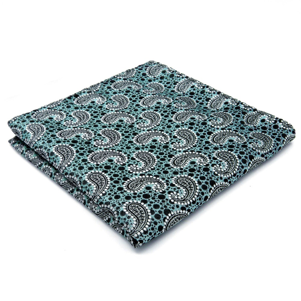 Paisley Blue Handkerchief Pocket Square Silk Large 12.6