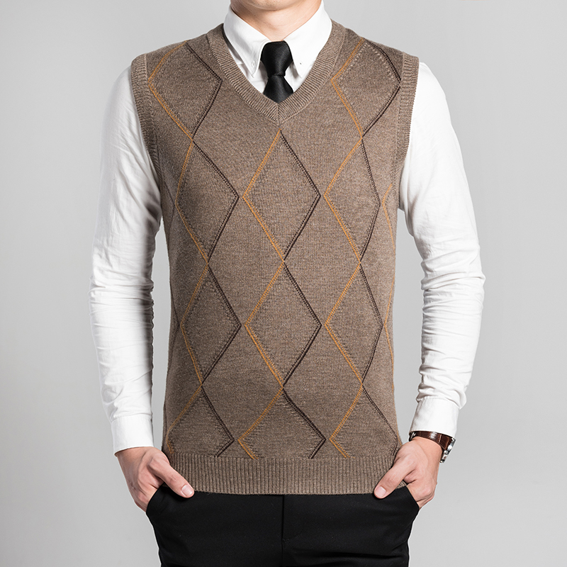 wool sweater vest mens cashmere pullover men V neck sweaters 2017 ...