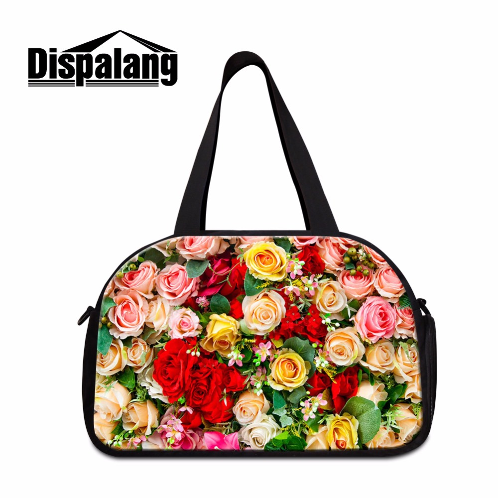 Dispalang Flower 3D Print Large Travel Tote for Women Ladies journey bags online Big Floral Pattern Duffle Bag Girls Sporty Bags