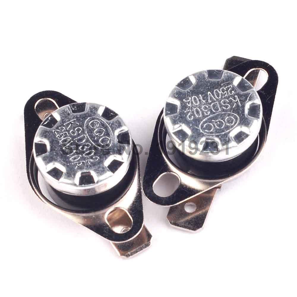 10PCS <font><b>Thermal</b></font> Protector KSD Temperature <font><b>Switch</b></font> Thermostat KSD301 85C <font><b>250V</b></font> <font><b>10A</b></font> NC Normal Close image