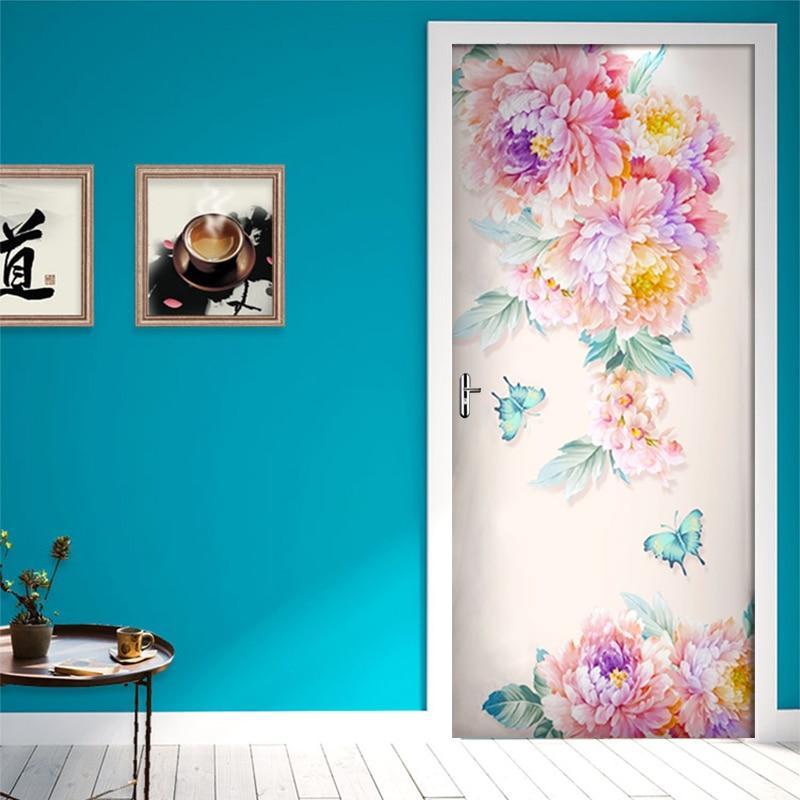 Modern Fresh Rose Butterfly Wallpaper Wall Stickers PVC Self adhesive Removable 3D Door Stickers Mural Bedroom Door Decor Poster|Door Stickers| |  - title=