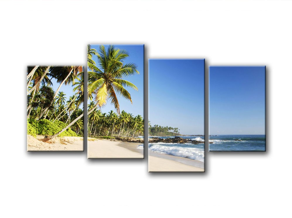 Mar pintura al óleo enmarcada 4 panel grande playa palmera alta arte ...