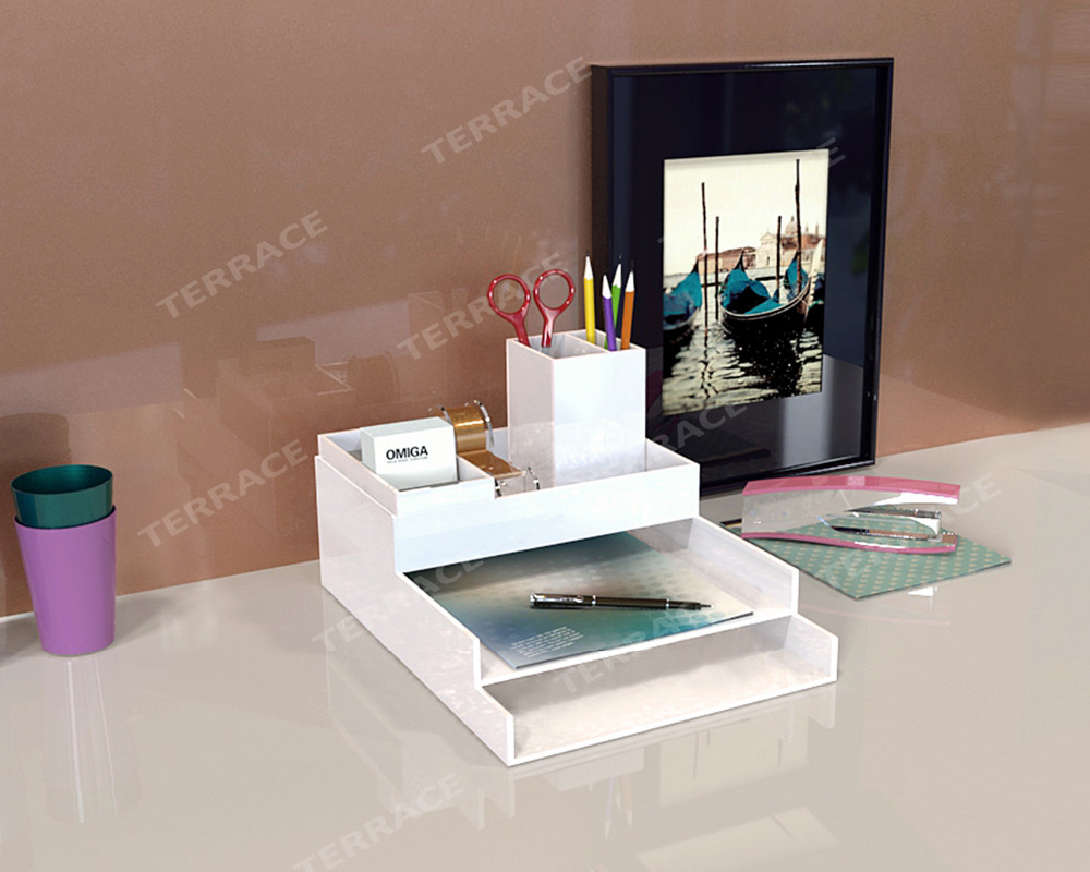 acrylic stationery desk accessories organizer lucite homeoffice fileletter tray perspex pen boxname card holder