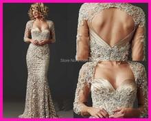 Abendkleid spitze 2016 Ärmeln Spitze Appliques Stain Perlen Abendkleid für Partei ballkleid perlen Hochzeit Nach Maß