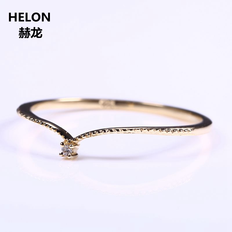 Solid 10k Yellow Gold Natural Diamond Engagement Ring Women Wedding Band V Shape Fine Fine Jewelry