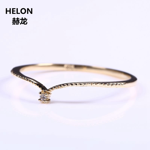 Solid 10k Yellow Gold Natural Diamond Engagement Ring Women Wedding Band V Shape Fine Fine Jewelry Thin Cute Romantic Millgrain