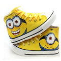 Brand Despicable Me Minions canvas shoes fashion for men hand-painted shoes size 35-44 Flat and comfortable casual shoes