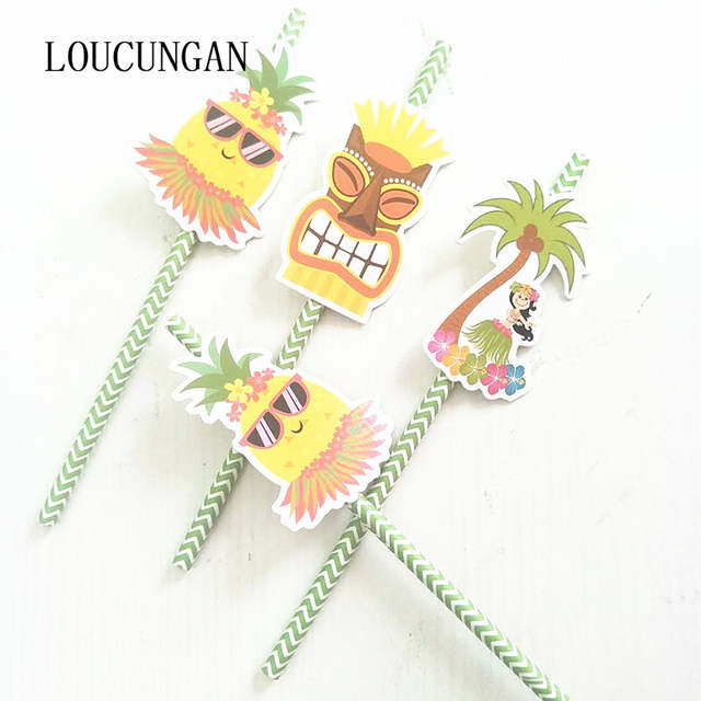 US $4 74 5% OFF|36pcs/lot Hawaiian Party Table Decorations Pineapple Paper  Drinking Straws Jungle Tropical Birthday Party Decorations Kids Adult-in