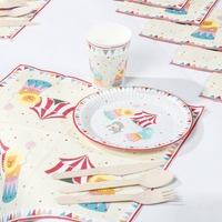 Riscawin The Circus Theme Paper Plates Set Birthday Party Decoration For 8 People Disposable Tableware Set