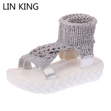 Купить с кэшбэком LIN KING Leisure Women Sandals Fashion Knit Thick Sole Lazy Wedges Shoes Anti Slip Summer Platform Shoes Lady Sandalias Big Size