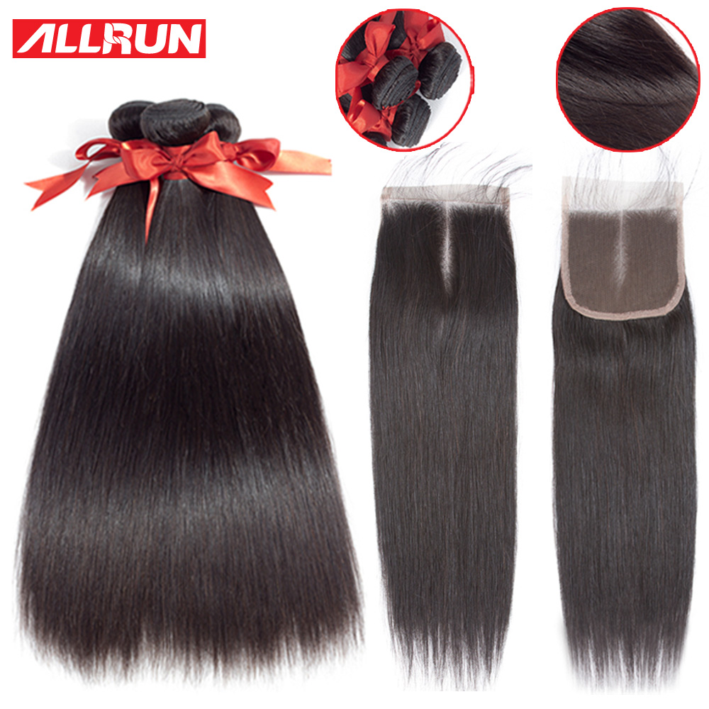 Allrun Straight Hair Bundles With Closure Human Hair Bundles With Closure Malaysia Non Remy Hair Extension