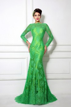 Real Ptoto Cheap High Quality Green Lace Mermaid Evening Dress Long Sleeve Bateau Neck Prom Dress Formal Party Dress