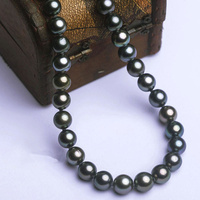 High Quality 8 12mm Imitate Tahiti Style Black Shell Pearl 18 Inches Fashion Jewelry Choker Necklace