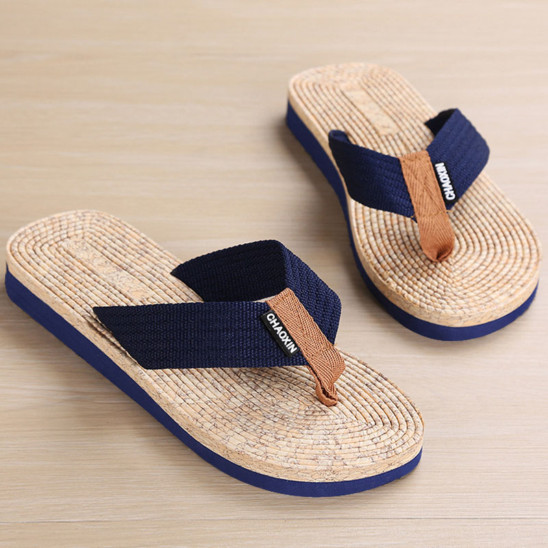 Brand Men Flip Flops Summer Beach Sandals Slippers For Men Flats  Non-slip Wear-resistant Slippers EVA Cheap Special Slippers