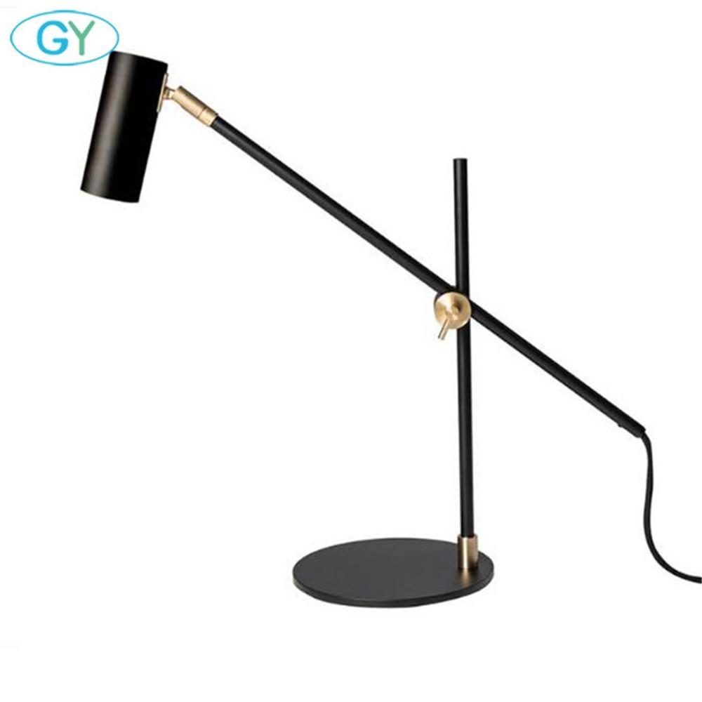 Скандинавский минималистичный светильник для дома, спальни, настольная лампа для чтения, черный бронзовый офисный Настольный светильник, художественный дизайнерский Регулируемый Настольный светильник ing
