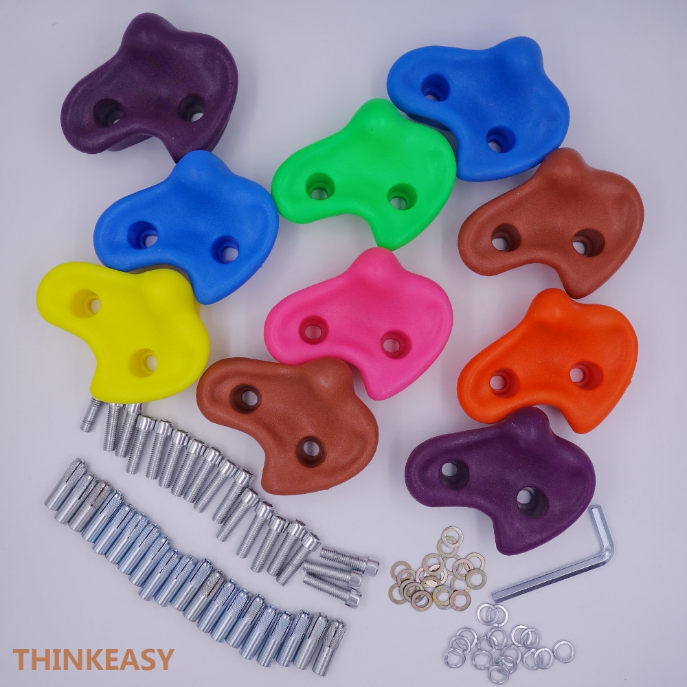 ThinkEasy 10 Pieces Rock Climbing Stone Children Sport Toy Rocks Wall Grab Stones Hand Feet Holds Grip with Fixings- Large Size