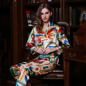 Image 1 - Fashion Brand Real Silk Women Pajama Two Piece Printed 100% Silk Sleepwear Female Spring Autumn Long Sleeved Pyjama Sets YE1559