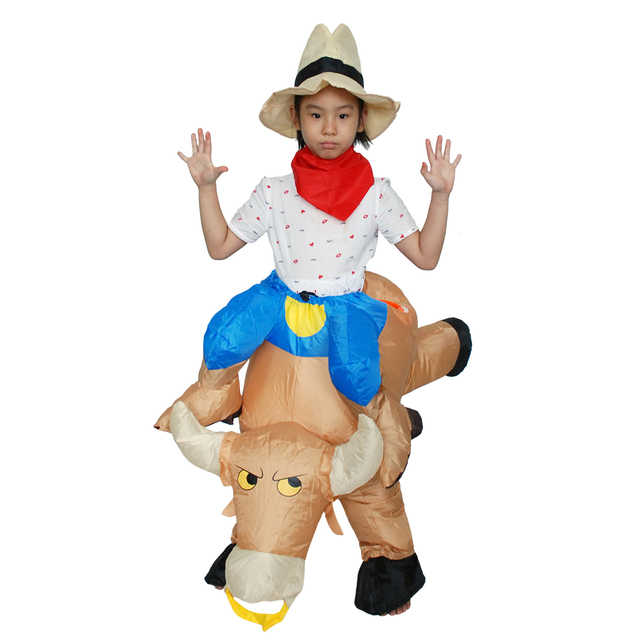 anime cosplay child inflatable bull costume halloween costumes for kids 40 to 50 inch mascot costume