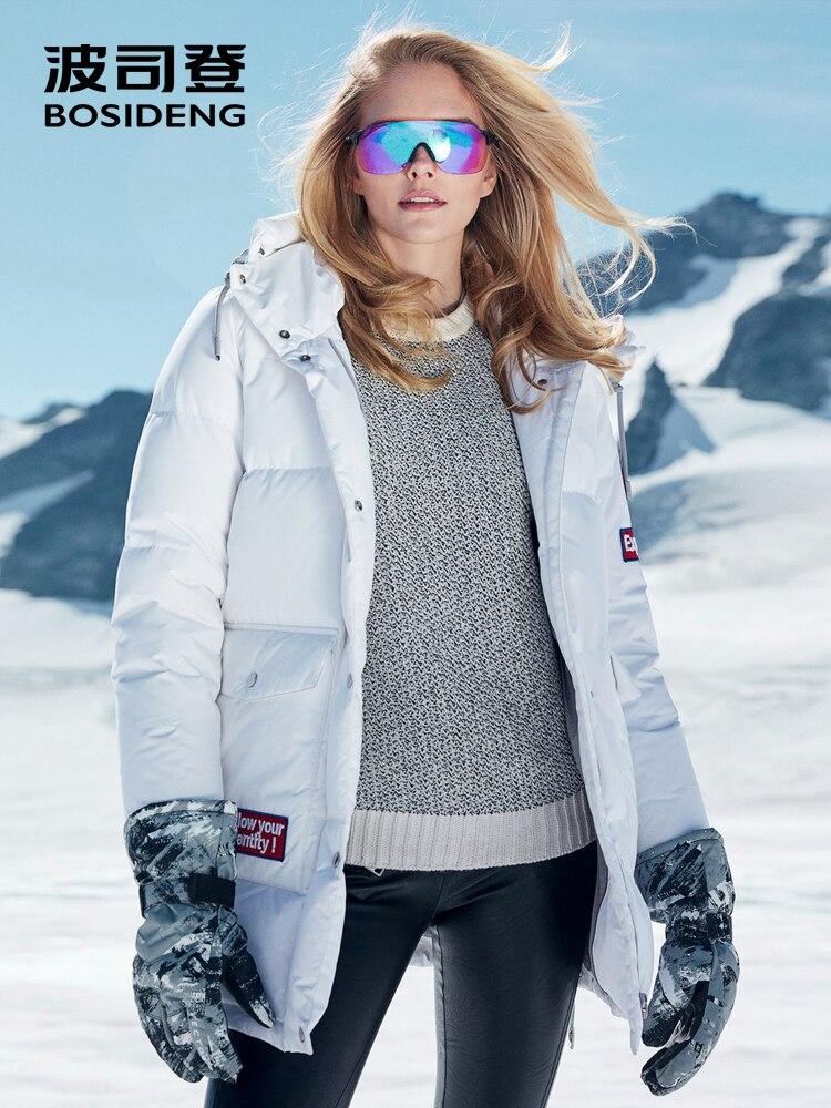 BOSIDENG 2018 новое зимнее утепленное гусиное пуховое пальто с капюшоном пуховик для женщин жесткая зима до 30 водостойкий B80142142