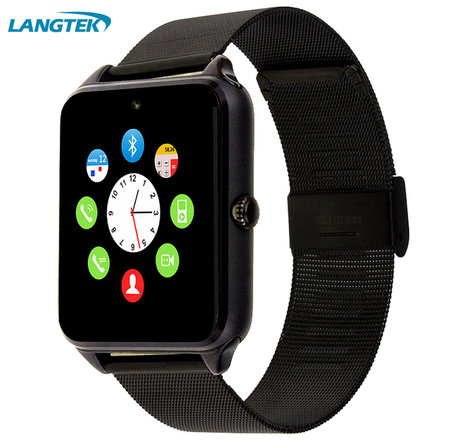 LANGTEK Bluetooth Smart Watch GT08 Clock Sync Notifier support SIM TF Card Connectivity Apple iphone Android Phone Smartwatch