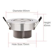 3W 4W 5W AC85V-265V 110V 220V LED Ceiling Downlight Recessed LED lamp Spot light + LED Driver For Home Lighting Silver Daylight