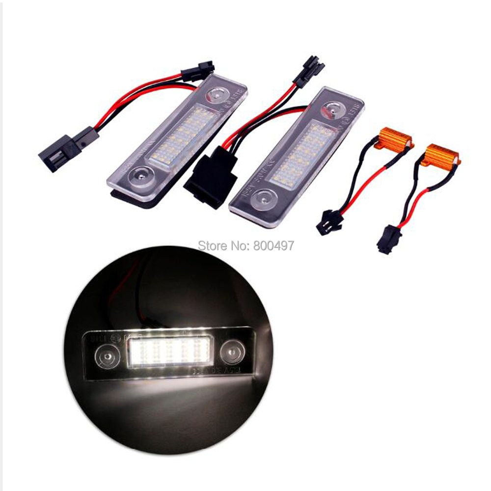 2 x Car-styling LED License Plate Light Lamp for Volkswagen VW Skoda Octavia Roomster 5J 13.5V External Lights Accessories 2pcs car styling auto no error under mirror led puddle light lamp for volkswagen vw golf mk6 gti touran 2011 white accessories