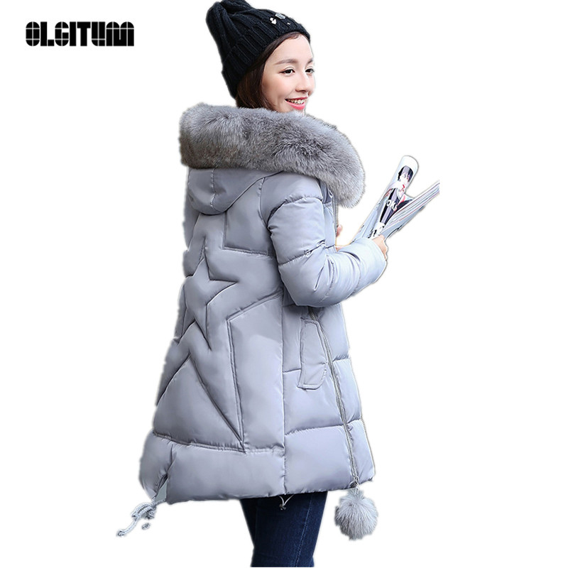 OLGITUM 2017 NEW  Winter Long Cotton Padded Women Fur Collar Coat Star Wadded Solid Jacket Warm Outerwear Parkas Plus Size 3XL warm padded parka 2017 new women winter hoodie fur collar wadded jacket fashion slim fit coat plus size cotton parkas gjl03