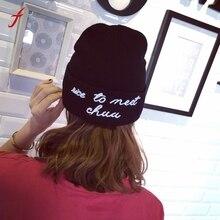 2017 New Fashion Winter Wool Women Keep Warm Rose Embroidery Applique Crochet Ski Hat Braided Cap Thick Female Caps women