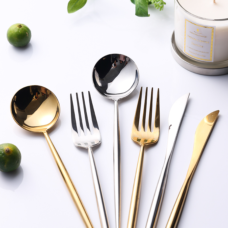 24pcs/6 set 304 Stainless Steel Mirror Tableware Set Rose Gold Silver European Western Food Dinnerware Sets knife Forks Teaspoon-in Dinnerware Sets from Home & Garden    2