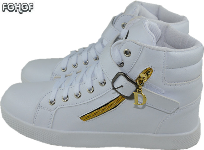 Zip Metal decoration high top sneakers mens shoes casual shoe men white hip hop shoes male shoes adult mens trainers tenis