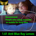 1.61 анти blue ray близорукость рецепту линзы качество супер тонкий асферические CR39 смола объектива около зрения близорукие очки линзы