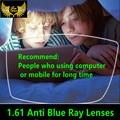 1.61 anti blue ray lentes recetados miopía calidad súper delgada vidrios miopes lentes de resina asférico CR39 lente cerca de la vista