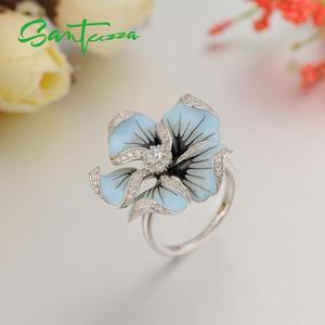 Image 5 - SANTUZZA Silver Ring For Women Pure 925 Sterling Silver Cubic Zirconia Blue Blooming Flower кольца Fine Jewelry Handmade Enamel