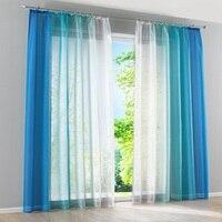 2pcs Set Decorative Tulle Simple Gradient Curtain Window Blue Orange Gray Semi Blackout Veranda For Kitchen